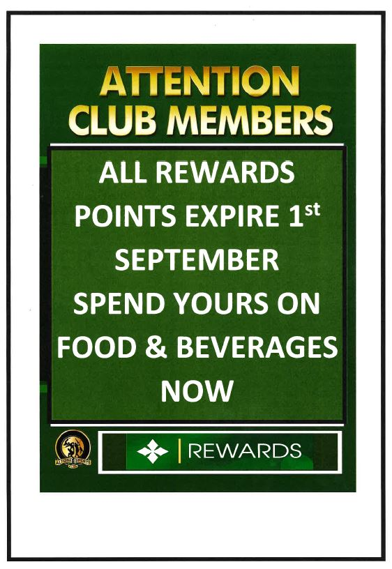Rewards Points Expire 1st September