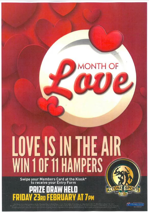 """Month of Love at Altona Sports Club """"Love Is In The Air"""""""